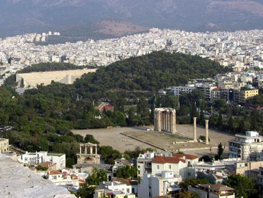 The Olympieion and the Olympic stadium