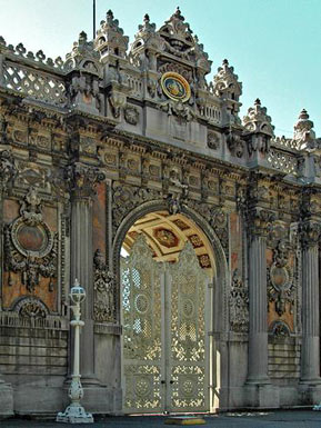 Dolmabahce palace complex gate