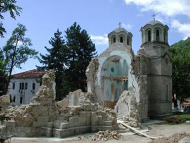 Main church of the monastery complex, destroyed 2001