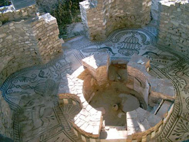 The Baptistery, built in the 4th century has remarkable floor mosaics, preserved in situ