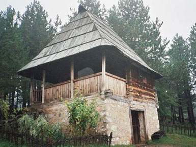 Traditional house in Staro selo, open air museum of Sirogojno