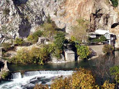 The complex of Blagaj tekke with the Buna river spring