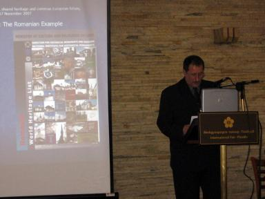 Presentation by Prof. Sergiu Nistor during the first day of the Regional Forum