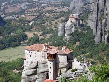 The Monasteries of Meteora and the valley below