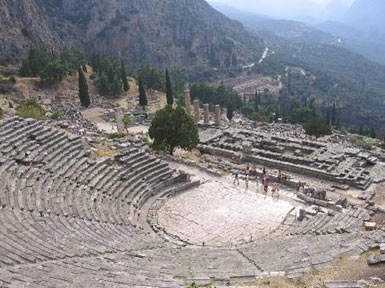 The theatre and the temple of Apollo