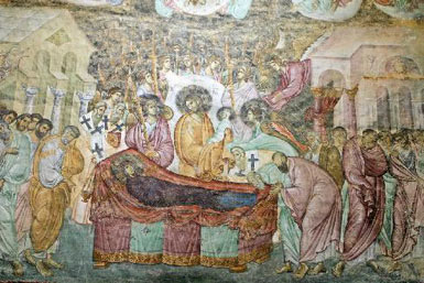 The Assumption, fresco from the XIII c. in the Holy Trinity Church,  Sopocani Monastery