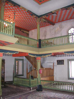 Interior of the Sarena mosque - coloured wooden elements