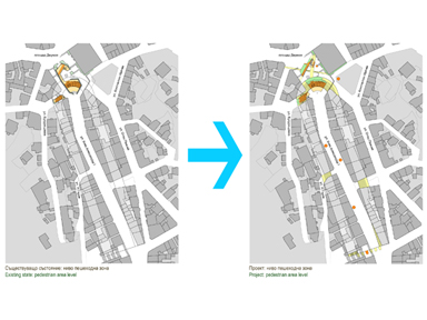 Before and after: Knyaz Alexander I Street, pedestrian area level