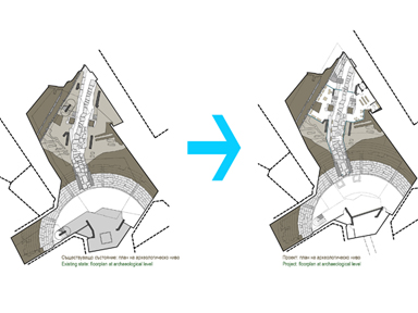 Before and after: Jumaya Square, floorplan at archaeological level