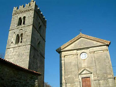 Church and tower in Hum
