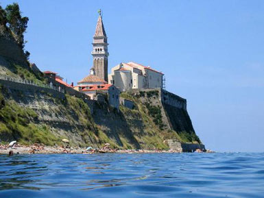 Piran from the water
