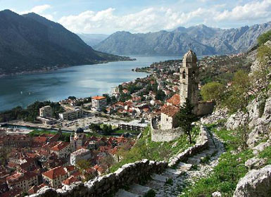 View of Kotor and Kotor Bay from the fortress of St. John