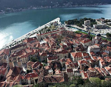 Old city of Kotor, view from the fortress