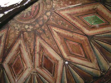 Wooden ceiling in the house of Klianty